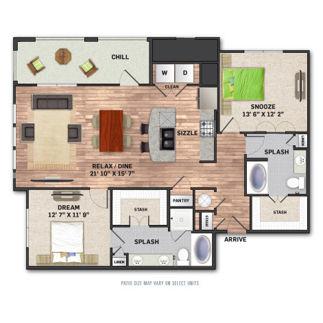 1,294 sq. ft. B3.1 floor plan