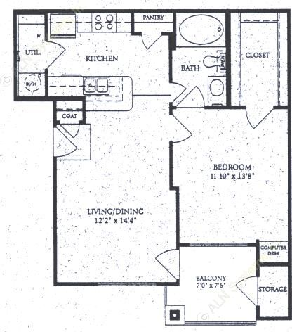787 sq. ft. A-2 floor plan