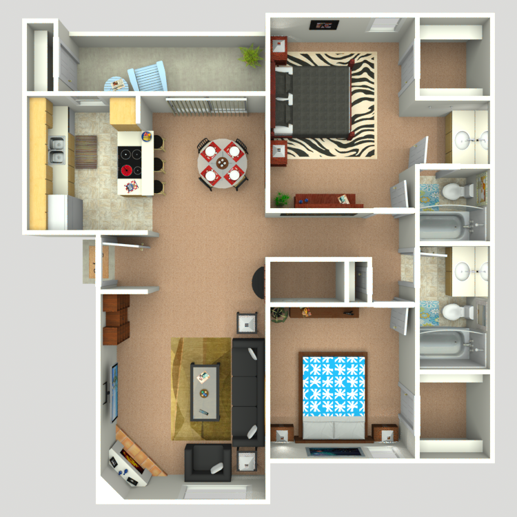 988 sq. ft. B1 floor plan