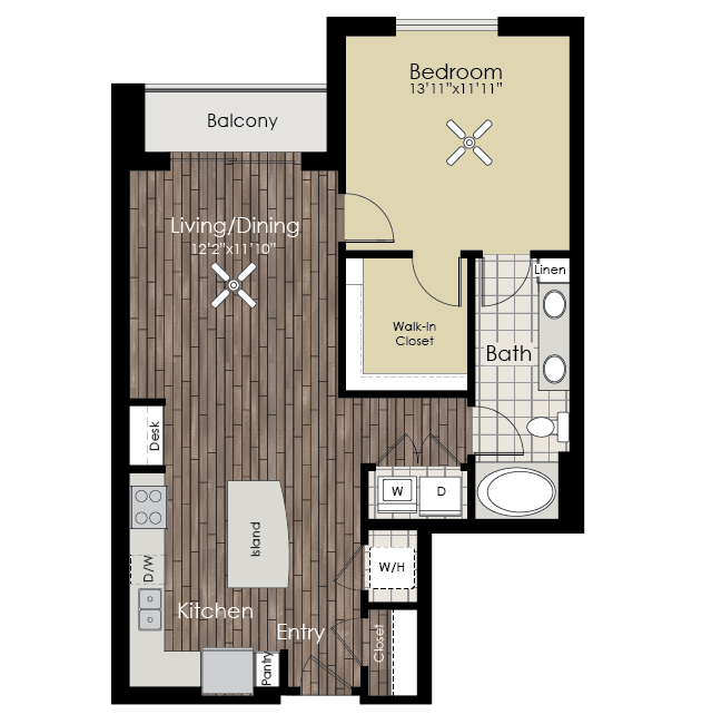 880 sq. ft. A9 floor plan