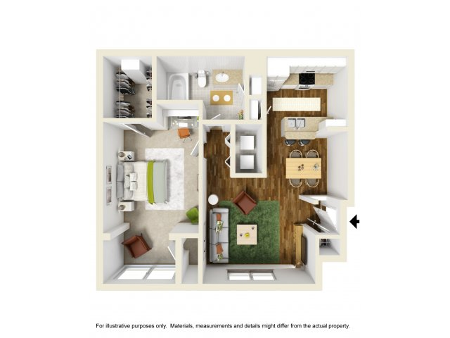 729 sq. ft. BANDARA floor plan
