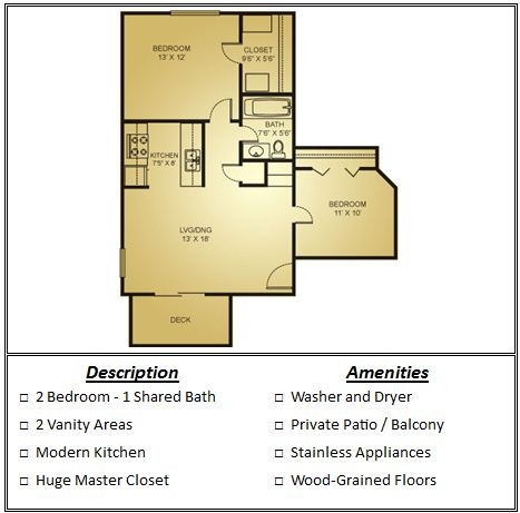 713 sq. ft. Mkt floor plan