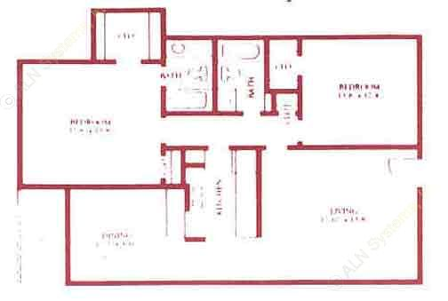1,090 sq. ft. B2 floor plan