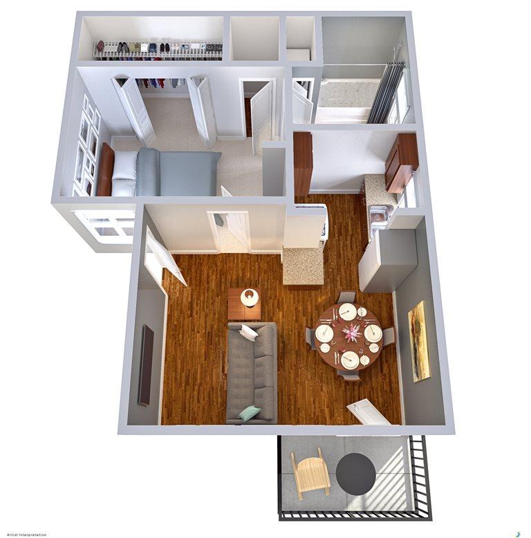 468 sq. ft. EFF floor plan