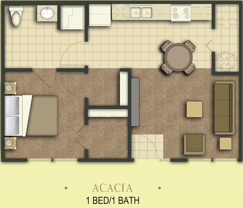 700 sq. ft. Acacia/50% floor plan