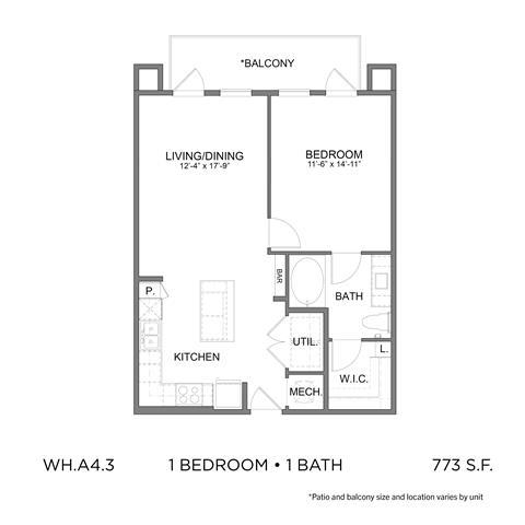 773 sq. ft. A4.3 floor plan