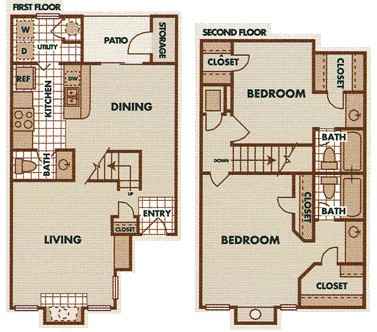 1,218 sq. ft. B4-TH floor plan