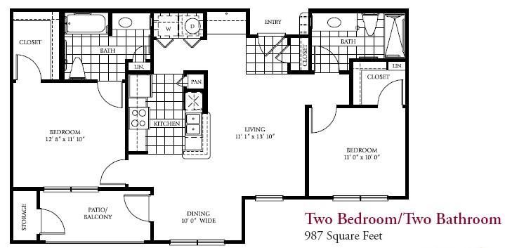 987 sq. ft. 50% floor plan