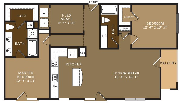 1,439 sq. ft. BF3 (I) floor plan