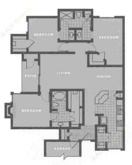 1,526 sq. ft. C1 floor plan