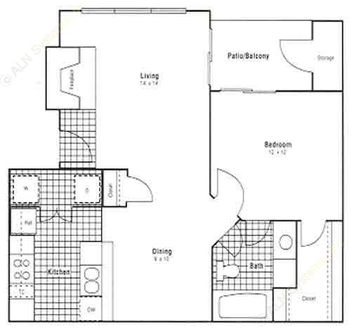 724 sq. ft. A2 floor plan