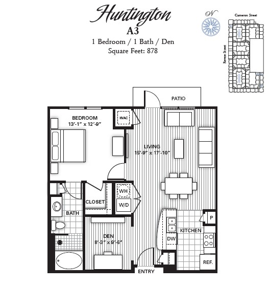 878 sq. ft. HUNTINGTON floor plan