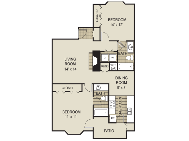 995 sq. ft. B7-A floor plan