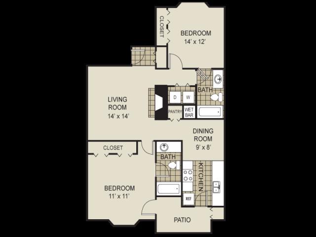 995 sq. ft. B7-A floor plan