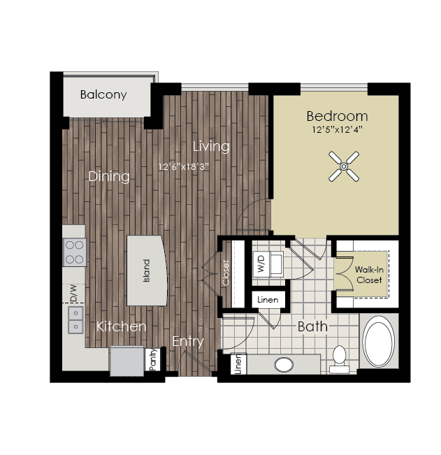 794 sq. ft. A3 floor plan