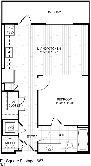 687 sq. ft. E1 floor plan