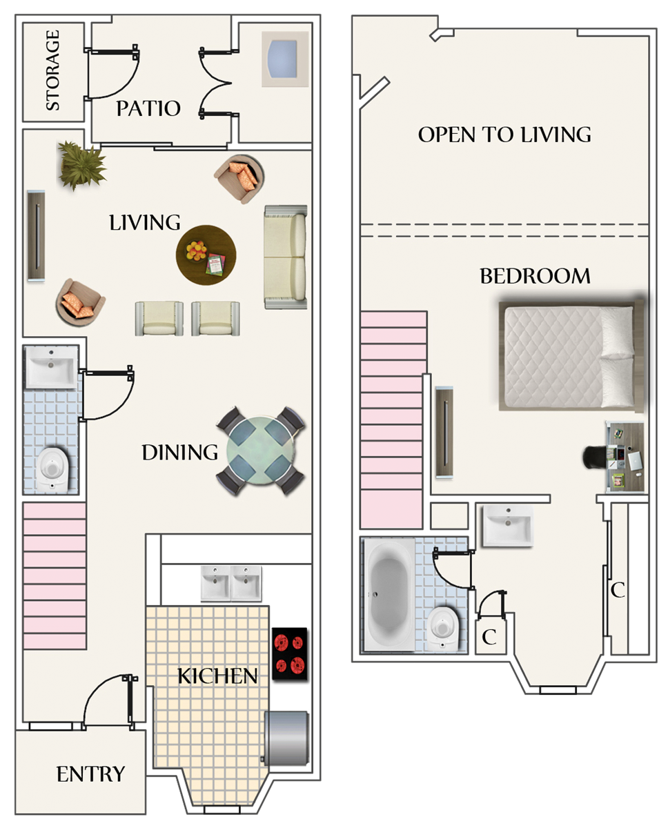 715 sq. ft. Loft floor plan