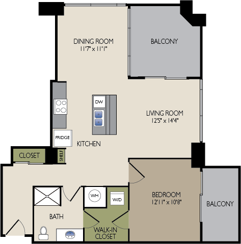 885 sq. ft. F1 floor plan