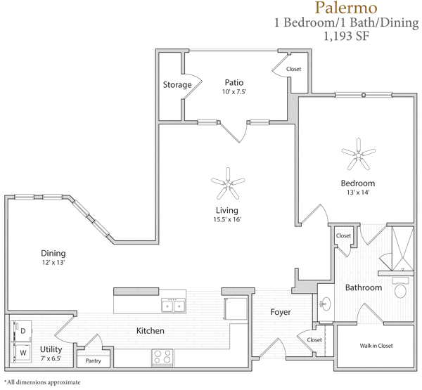 1,193 sq. ft. Palermo floor plan