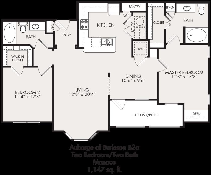 1,147 sq. ft. floor plan
