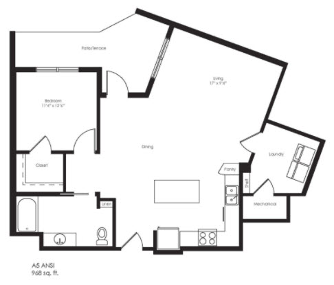 968 sq. ft. A5 Ansi floor plan
