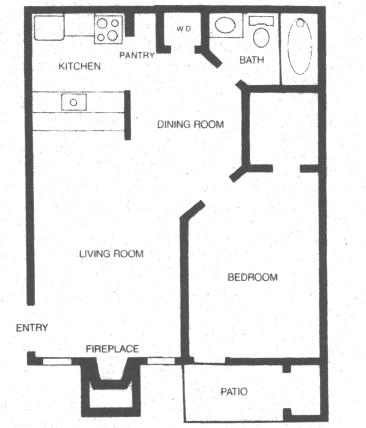 528 sq. ft. APACHE floor plan