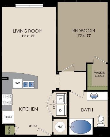 708 sq. ft. A1 floor plan