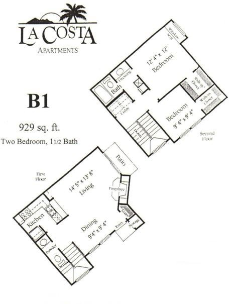 929 sq. ft. B1 floor plan