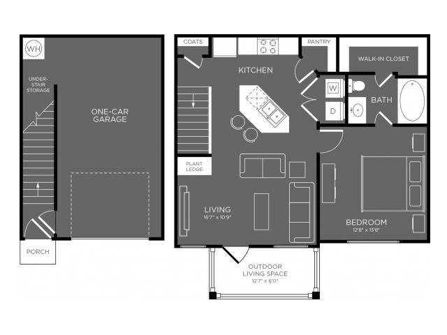 750 sq. ft. Clearing floor plan