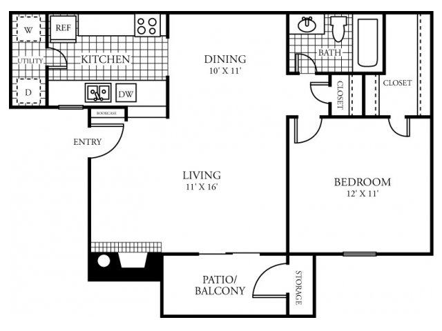 684 sq. ft. C floor plan