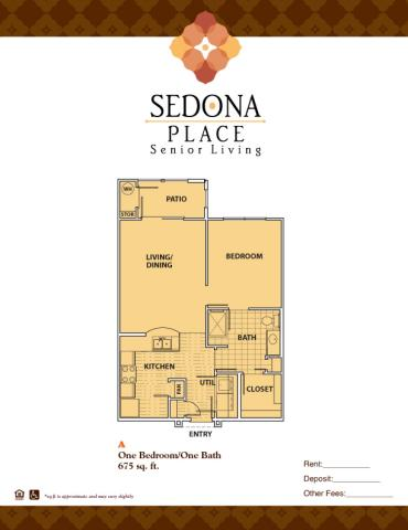 675 sq. ft. A floor plan