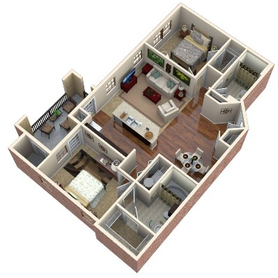 1,051 sq. ft. Topaz floor plan