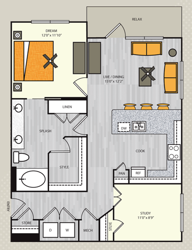 962 sq. ft. A12S floor plan