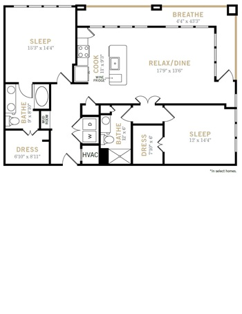 1,364 sq. ft. B9A floor plan