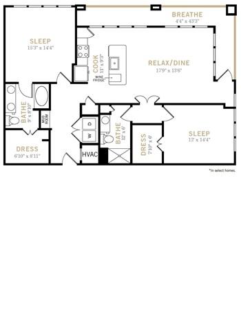 1,364 sq. ft. B9A floor plan