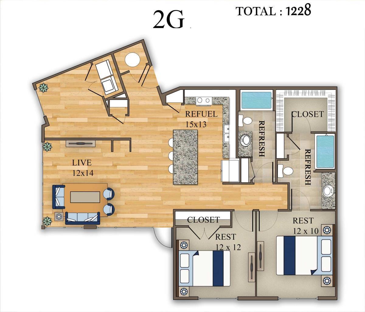 1,228 sq. ft. 2G floor plan