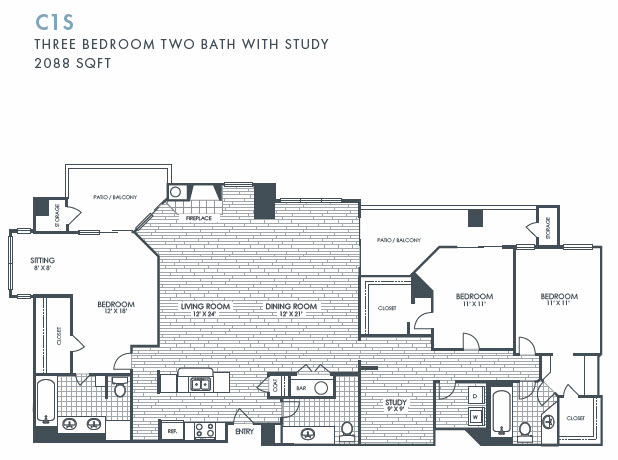 2,088 sq. ft. C1S floor plan