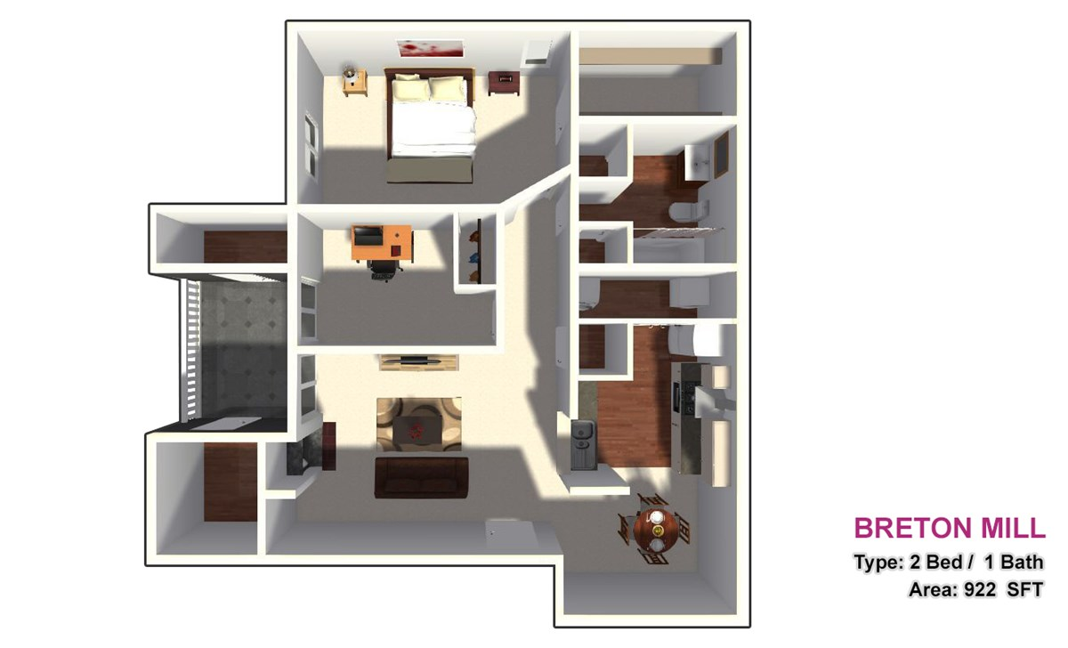 922 sq. ft. 2A1 floor plan