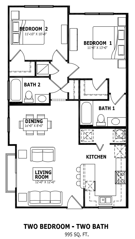 995 sq. ft. floor plan