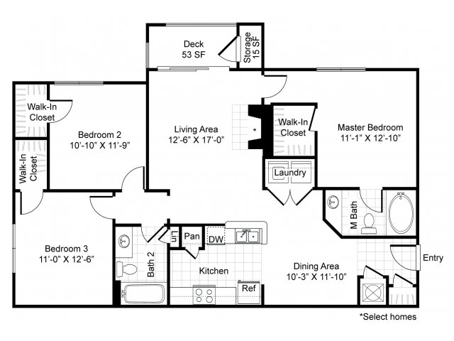 1,248 sq. ft. C1-Bel Canto floor plan