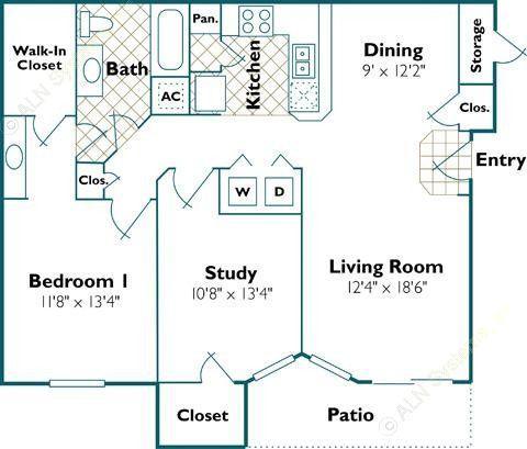 1,004 sq. ft. A3 floor plan