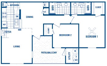 958 sq. ft. Kaylon floor plan