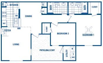 958 sq. ft. Kaylon floor plan