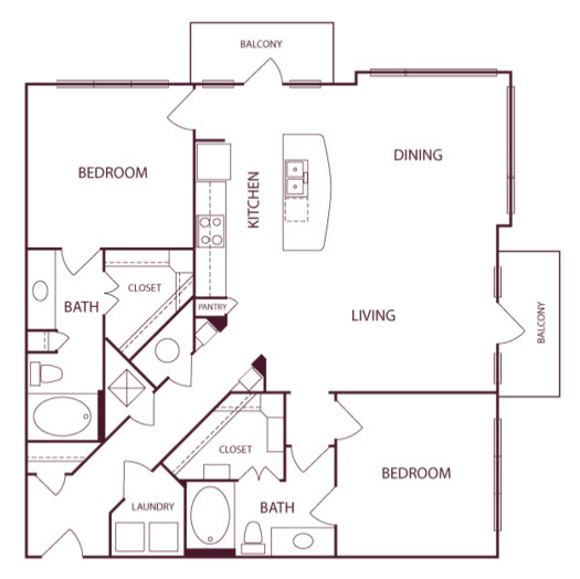 1,293 sq. ft. B2 floor plan