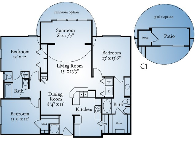 1,252 sq. ft. B2S floor plan