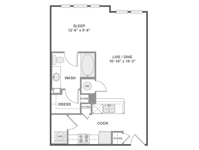 632 sq. ft. E1 floor plan