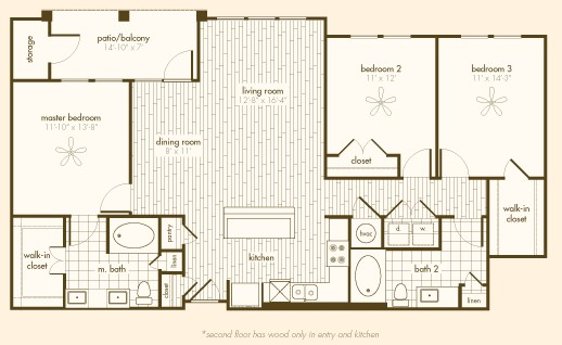 1,455 sq. ft. C1 floor plan