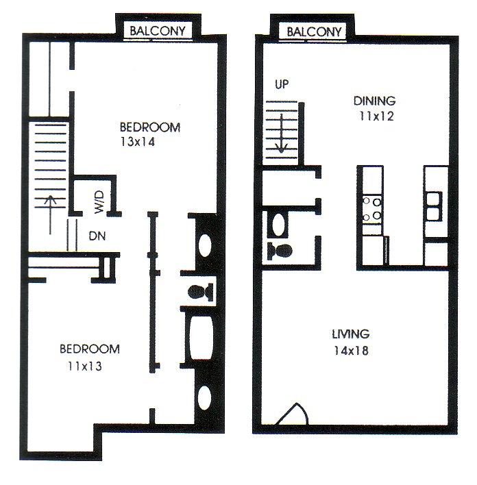 1,209 sq. ft. H floor plan