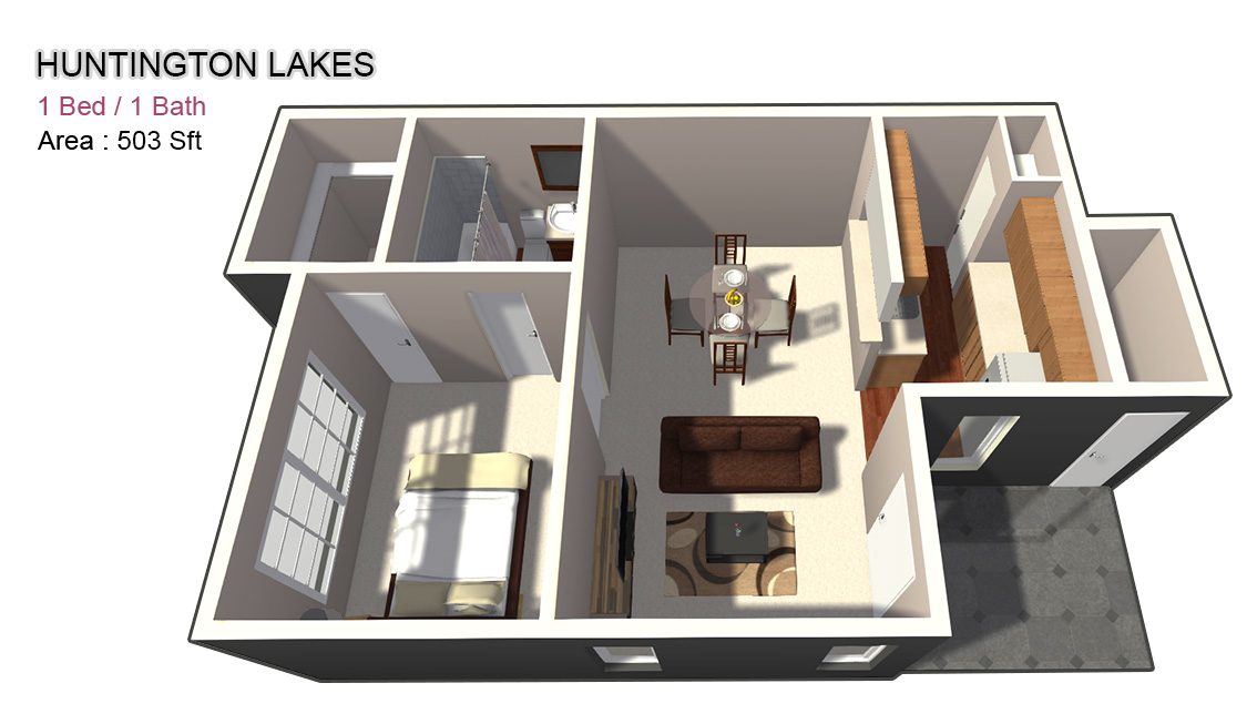 503 sq. ft. 1X1 floor plan