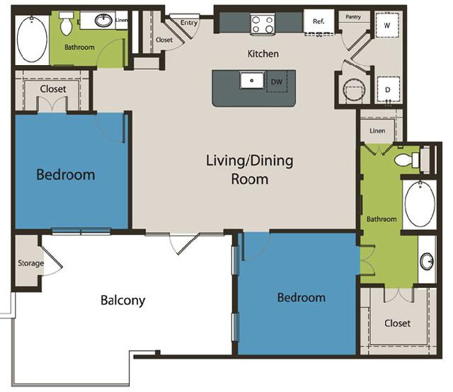 1,205 sq. ft. B4.1 floor plan